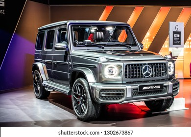 Brussels, Belgium, Jan 18, 2019: Mercedes-AMG G 63 Exclusive Edition at Brussels Motor Show, G-class off-road car produced by Mercedes-Benz