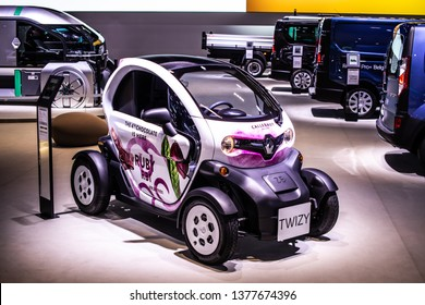 Brussels, Belgium, Jan 18, 2019: small electric Renault Twizy at Brussels Motor Show, two-seat electric car, heavy quadricycle produced by Renault