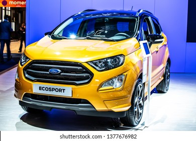 Brussels, Belgium, Jan 18, 2019: Ford Ecosport at Brussels Motor Show, Second generation facelift, subcompact crossover SUV produced by American multinational automaker Ford Motor Company