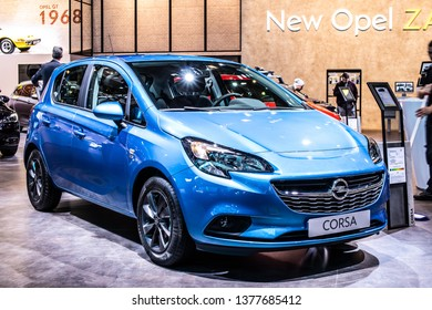 Brussels, Belgium, Jan 18, 2019: metallic blue OPEL Corsa at Brussels Motor Show, Corsa E - fifth generation, supermini car produced by Opel (PSA Group)