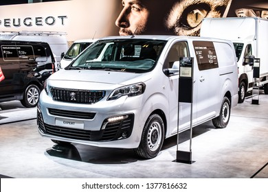 Brussels, Belgium, Jan 18, 2019: new Peugeot Expert at Brussels Motor Show, Third generation, MK3, light commercial van produced by Peugeot (PSA Group)