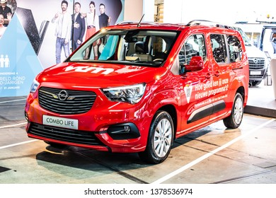Brussels, Belgium, Jan 18, 2019: OPEL Combo Life at Brussels Motor Show, third generation - Combo D, leisure activity vehicle from Opel (PSA Group)