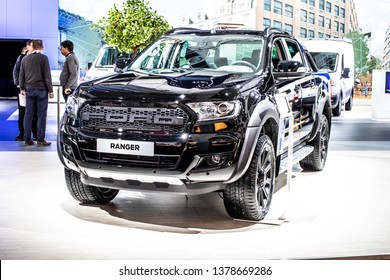 Brussels, Belgium, Jan 18, 2019: metallic black Ford Ranger III truck pickup at Brussels Motor Show, Third generation, produced by American multinational automaker Ford Motor Company