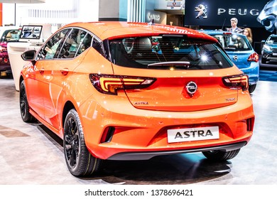 Brussels, Belgium, Jan 18, 2019: OPEL ASTRA HATCHBACK at Brussels Motor Show, fifth generation - Astra K, D2XX platform, compact car/small family car produced by Opel (PSA Group)