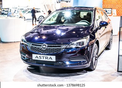 Brussels, Belgium, Jan 18, 2019: OPEL ASTRA SPORTS TOURER at Brussels Motor Show, fifth generation - Astra K, D2XX platform, compact car/small family car produced by Opel (PSA Group)
