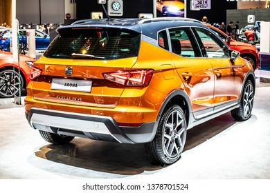Brussels, Belgium, Jan 18, 2019: new Seat Arona at Brussels Motor Show, mini crossover SUV manufactured by SEAT