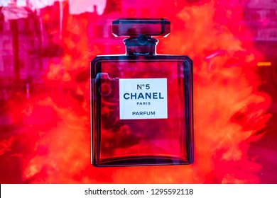 "Brussels, Belgium, Jan 20, 2019: Chanel No. 5 perfume on the shop display, Chanel No. 5 is the first perfume launched by French couturier Gabrielle ""Coco"" Chanel"