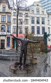 Brussels, Belgium - January 09, 2020: Monument to Jacques Brel, Belgian poet and singer