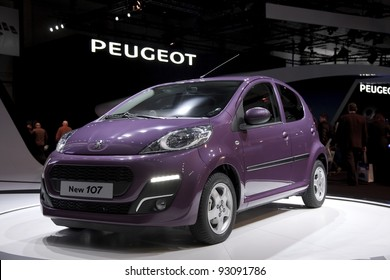BRUSSELS, BELGIUM - JANUARY 12: Annual autosalon brussel 2012 auto motor show in Heyzel expo hall.  Peugeot 107 on display. Show iopen for public  January 13-22. January 12, 2012 in Brussels,  Belgium