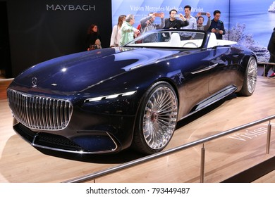 Brussels, Belgium - January 14 2018: Vision Mersedes-Maybach 6 Cabriolet shown at 96th Brussels Motor Show exhibition.