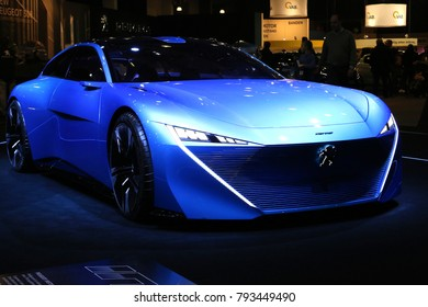 Brussels, Belgium - January 14 2018: Peugeot Instinct concept car shown at 96th Brussels Motor Show exhibition.