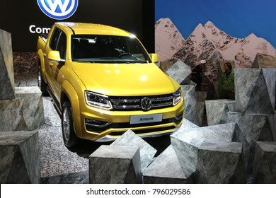 Brussels, Belgium - January 14 2018:  Volkswagen Amarok shown at 96th Brussels Motor Show exhibition.