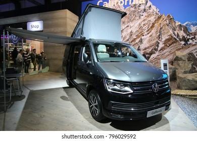 Brussels, Belgium - January 14 2018:  Volkswagen California van shown at 96th Brussels Motor Show exhibition.