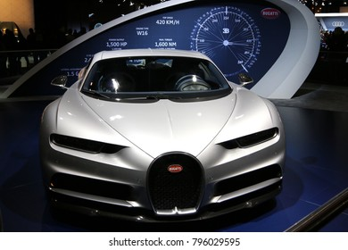Brussels, Belgium - January 14 2018:  Bugatti Chiron shown at 96th Brussels Motor Show exhibition.