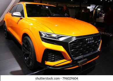 Brussels, Belgium - January 14 2018:  Audi Q8 shown at 96th Brussels Motor Show exhibition.
