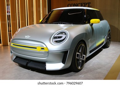 Brussels, Belgium - January 14 2018:  Electric Mini car concept shown at 96th Brussels Motor Show exhibition.