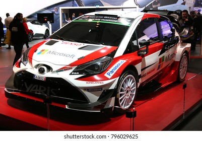 Brussels, Belgium - January 14 2018:  Toyota Yaris Rally Version shown at 96th Brussels Motor Show exhibition.
