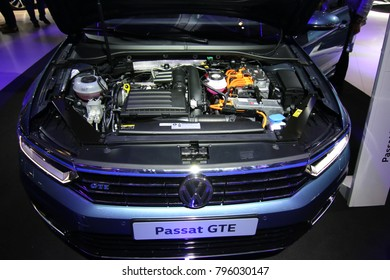 Brussels, Belgium - January 14 2018:  Volkswagen Passat GTE with motor opened shown at 96th Brussels Motor Show exhibition.