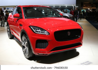 Brussels, Belgium - January 14 2018:  Jaguar E-Pace shown at 96th Brussels Motor Show exhibition.