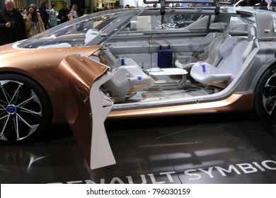 Brussels, Belgium - January 14 2018:  Renault Symbioz concept car shown at 96th Brussels Motor Show exhibition.