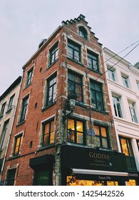 BRUSSELS, BELGIUM - JANUARY, 2, 2019: Godiva Chocolate Store, Godiva Chocolatier is a manufacturer of fine chocolates and related products, founded in Belgium in 1926