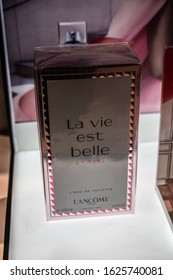 Brussels, Belgium, January 2020: Lancome La Vie Est Belle En Rose perfume on the shop display for sale, fragrance created by Lancome