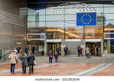 BRUSSELS, BELGIUM. January 24, 2018. The view of the entrance of the European Parliament main building in Brussels.
