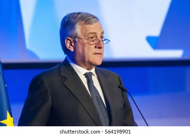 BRUSSELS, BELGIUM. January 25, 2017. Antonio Tajani, an Italian politician and President of the European Parliament since January 2017.