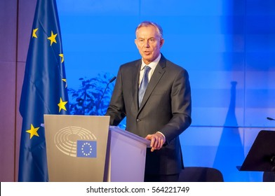 BRUSSELS, BELGIUM. January 25, 2017. Tony Blair of Great Britain, speaking in the European Parliament. He is a former British Prime Minister and Special Envoy of the Quartet on the Middle East