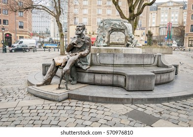 BRUSSELS, BELGIUM. January 25, 2017. Charles Karel Buls fountain on the Agora/Grasmarkt square in central Brussels. Charles Buls was a Belgian politician and a mayor of Brussels.