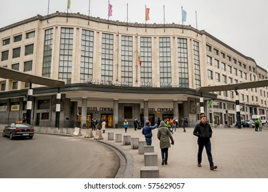 BRUSSELS, BELGIUM. January 25, 2017. The Brussels Central Station, main entrance.