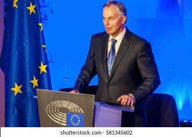 BRUSSELS, BELGIUM. January 25, 2017. Tony Blair of Great Britain, speaking in the European Parliament. He is a former British Prime Minister and Special Envoy of the Quartet on the Middle East.