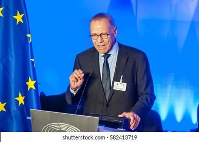 BRUSSELS, BELGIUM. January 25, 2017. Andrei Konchalovsky, a prominent Russian filmmaker, speaking in the European Parliament in Brussels.