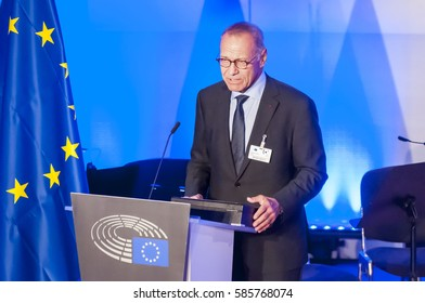 BRUSSELS, BELGIUM. January 25, 2017. Andrei Konchalovsky, a prominent Russian filmmaker, speaking in the European Parliament in Brussels.