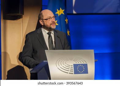 BRUSSELS, BELGIUM. January 27, 2016. The President of the European Parliament Martin Schulz speaking at the International Holocaust Remembrance Day ceremony in the European Parliament in Belgium