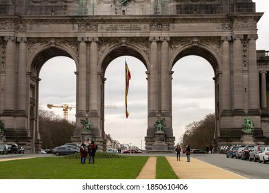 BRUSSELS, BELGIUM - JANUARY 3, 2019: Triumphal arch in Park of the Fiftieth Anniversary in Brussels on January 3, 2019.