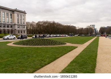 BRUSSELS, BELGIUM - JANUARY 3, 2019: Park of the Fiftieth Anniversary in Brussels on January 3, 2019.