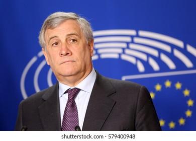 Brussels, Belgium - January 30, 2017: President of European Parliament Antonio Tajani speaks to the media after meeting Bulgarian president at European Parliament's building in Brussels.