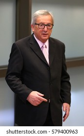 Brussels, Belgium - January 30, 2017: European Commission President Jean-Claude Juncker before meeting Bulgarian president at EU headquarters in Brussels.