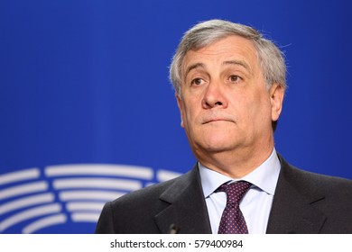Brussels, Belgium - January 30, 2017: President of European Parliament Antonio Tajani speaks to the media after meeting Bulgarian president at European Parliament's building in Brussels.
