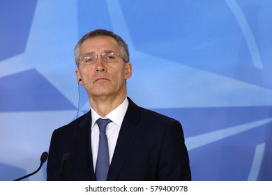 Brussels, Belgium - January 31, 2017: NATO Secretary General Jens Stoltenberg speaks to the media after meeting Bulgarian president at NATO headquarters in Brussels.