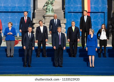 BRUSSELS, BELGIUM - Jul 11, 2018: Jens Stoltenberg, Donald Trump, Angela Merkel and Teresa May at the group photo of participants of the NATO military alliance summit