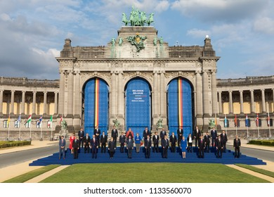 BRUSSELS, BELGIUM - Jul 11, 2018: Group photo of participants of the NATO military alliance summit in Brussels