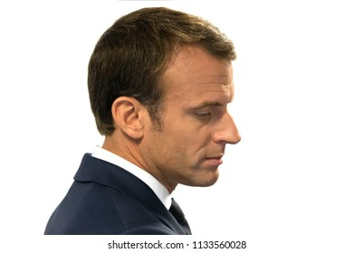 BRUSSELS, BELGIUM - Jul 12, 2018: French President Emmanuel Macron during the NATO military alliance summit in Brussels