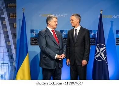 BRUSSELS, BELGIUM - Jul 12, 2018: Ukrainian President Petro Poroshenko and NATO Secretary General Jens Stoltenberg during NATO military alliance summit in Brussels