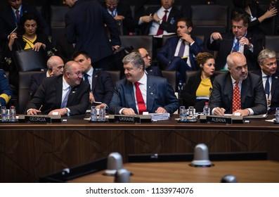 BRUSSELS, BELGIUM - Jul 12, 2018: Ukrainian President Petro Poroshenko and the leaders of states during NATO military alliance summit in Brussels