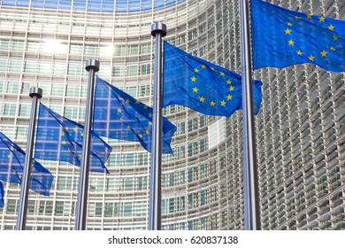 BRUSSELS, BELGIUM - JUL 30, 2014: Flags in front of the EU Commission building in Brussels.