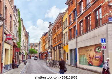 BRUSSELS, BELGIUM - JULY 07, 2016 : City views cozy European cities - Brussels, Belgium and the European Union's capital. Streets, cafes, restaurants and the people on them.
