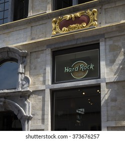 BRUSSELS, BELGIUM - JULY 10, 2015: Hard rock cafe logo on the Brussels hard rock cafe
