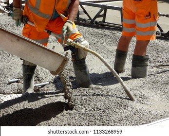Brussels, Belgium - July 10th 2018: Road rehabilitation works on Chausse d`Ixelles in Ixelles, Brussels .